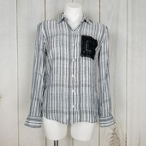 Westbound B & W Striped Lace Button-down S…